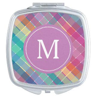 De kleurrijke Strepen van de Plaid van de Make-up Spiegeltje