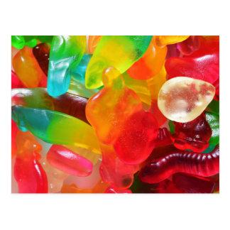 de kleurrijke textuur van de geleigom briefkaart
