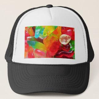 de kleurrijke textuur van de geleigom trucker pet