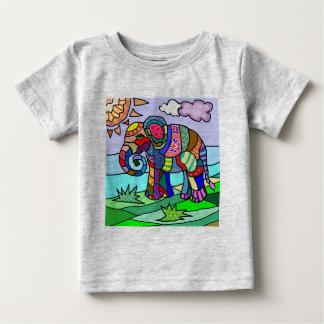De kleurrijke Trillende VolksOlifant van de Bloem Baby T Shirts