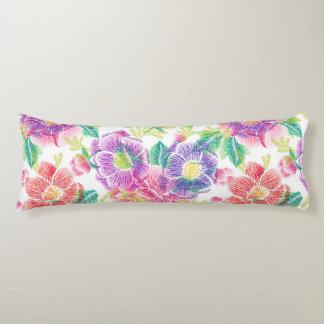 De kleurrijke Tropische Bloemen & doorbladert Lichaamskussen
