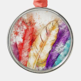 De Kleurrijke Verf van Veer vier als Ontworpen Zilverkleurig Rond Ornament