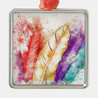 De Kleurrijke Verf van Veer vier als Ontworpen Zilverkleurig Vierkant Ornament