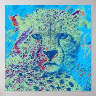 De kleurrijke versie van de jachtluipaard poster