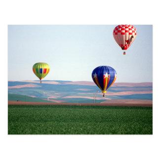 De kleurrijke vlotter van hete luchtballons over briefkaart