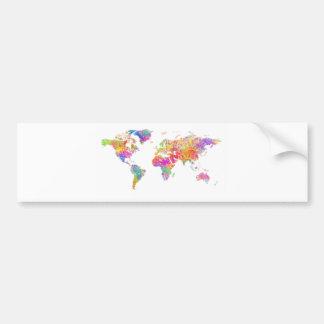 De kleurrijke Waterverf van de Wereld bespat de Bumpersticker