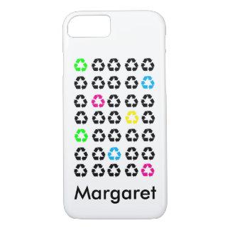 De kleurrijke Zwarte Recyclene Symbolen iPhone 8/7 Hoesje