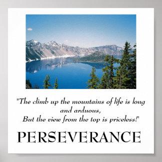 De klim omhoog de bergen van het levensposter poster