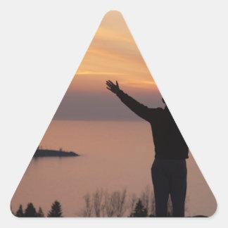 De Klip van de zonsondergang Driehoekige Sticker