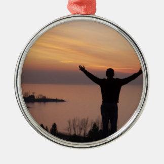 De Klip van de zonsondergang Zilverkleurig Rond Ornament