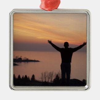 De Klip van de zonsondergang Zilverkleurig Vierkant Ornament