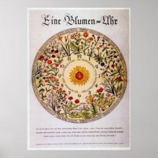De Klok   van de Bloem van Blumenuhr Poster