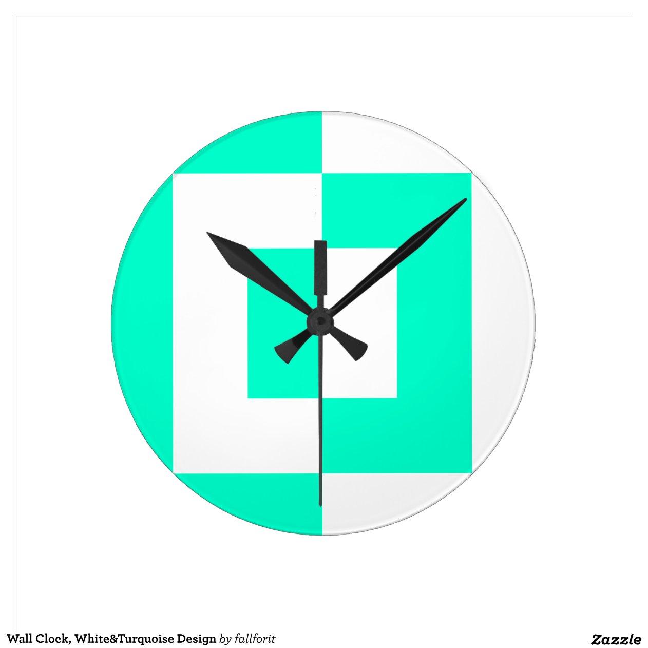 De klok van de muur ontwerp white turquoise zazzle - Turquoise ruimte van de jongen ...