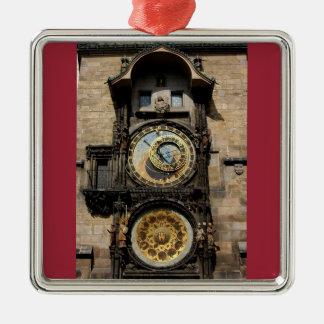 De Klok van de Tsjechische Republiek van Praag Zilverkleurig Vierkant Ornament