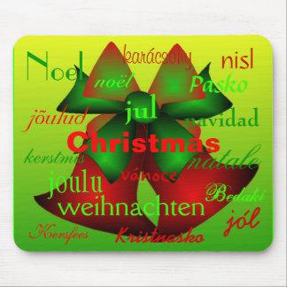 """De """"klokken van Kerstmis van rond de Wereld """" Muismatten"""