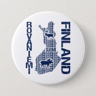 De knoop van de KAART van FINLAND - Rovaniemi Ronde Button 7,6 Cm