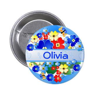 De Knoop van de Naam van bloemen en van Vlinders ~ Ronde Button 5,7 Cm