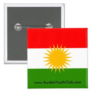 De Knoop van de Vlag van Koerdistan Vierkante Button 5,1 Cm