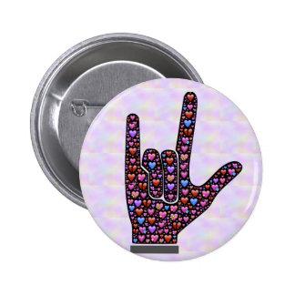 De knoop van het Teken van de Hand van de liefde Ronde Button 5,7 Cm