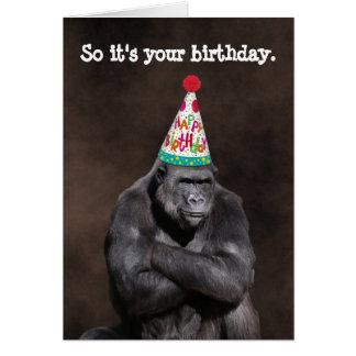De knorrige Verjaardag van Yay van de Gorilla Kaart