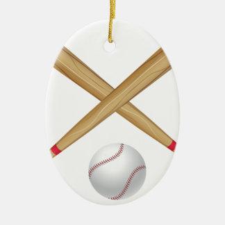 De Knuppel en de Bal van het honkbal Keramisch Ovaal Ornament