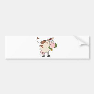 De koe die van de cartoon gras eten bumpersticker