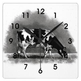 De Koe die van Holstein weiden: Het originele Art. Vierkante Klok