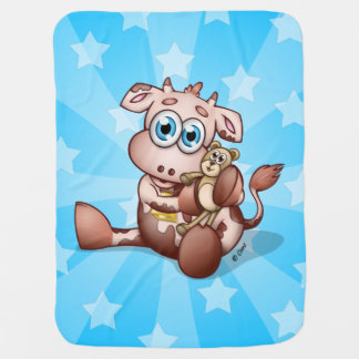 De Koe van het baby met Teddybeer - de Blauwe Inbakerdoek