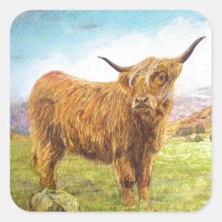 De Koe van het hoogland Vierkante Sticker