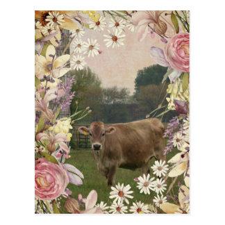 De Koe van Jersey van de Bloemen van het land Briefkaart