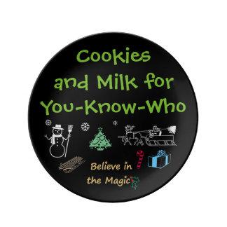 De Koekjes van de kerstman en het Bord van de Melk Porseleinen Bordje