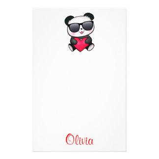 De koele Panda draagt het Hart van de Briefpapier