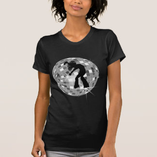 De koele Retro Danser van de Zanger op de Zilveren T Shirt