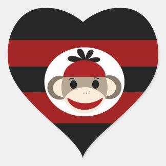 De koele Strepen van het Pet van Beanie van de Aap Hart Sticker