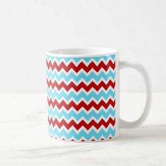 De koele Trendy Blauwgroen Turkooise Rode Zigzag Koffiemok