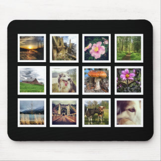 De koele Zwart-witte Collage van de Foto Instagram Muismat