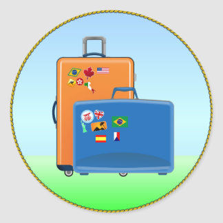 De Koffers van de vakantie Ronde Sticker