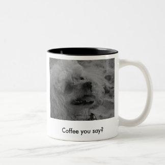 De koffie die u hebt gezegd? tweekleurige koffiemok