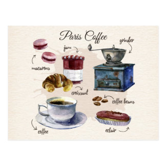 De koffie en het gebakje van Parijs behandelen Briefkaart