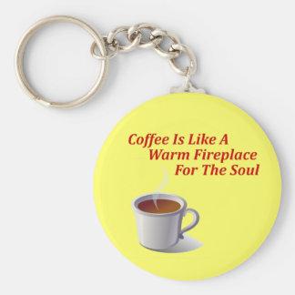 De koffie is als een Warme Open haard voor de Ziel Sleutelhanger