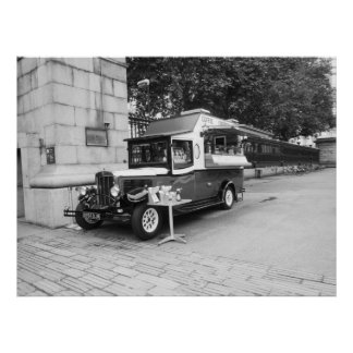 De koffie & omfloerst Oude Auto Londen Poster
