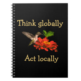 De kolibrie denkt globaal het Notitieboekje van Notitieboek