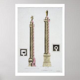 De kolom van Trajan, Rome, van 'Le Costume Ancien  Poster