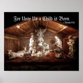 De Komst Jesus Nativity Manger Scene van Kerstmis Poster