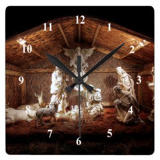De Komst Jesus Nativity Manger Scene van Kerstmis Vierkante Klok