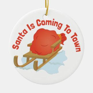 De Komst van de kerstman Rond Keramisch Ornament