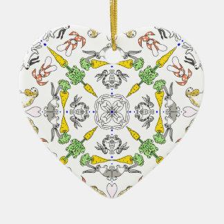 De konijnen van de caleidoscoop keramisch hart ornament
