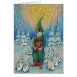 De konijntjes van de het voersneeuw van de jongen kaart