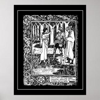 De Koning Arthur Excalibur Poster van Beardsley