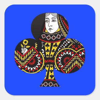 De koningin van Clubs Vierkante Stickers